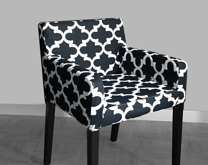 Patterned IKEA NILS Chair Slip Cover, Custom Chair Prints - Fynn Black