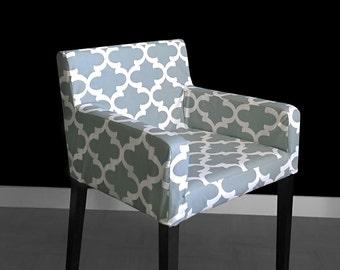 Patterned IKEA NILS Chair Slip Cover - Fynn Grey