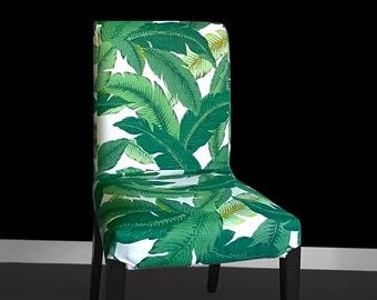 Leaf Print IKEA HENRIKSDAL Dining Chair Cover, Bespoke Leaves Henriksdal Covers, Jungle Ikea Chair Covers, Custom Ikea Decor