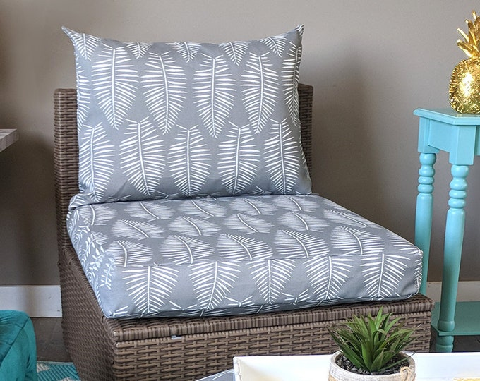 IKEA OUTDOOR Slip Cover, Ikea Kungso Cushion Covers, Custom Kungso Ikea Decor, Bespoke Arholma Covers, Palm Leaves Breeze Gray