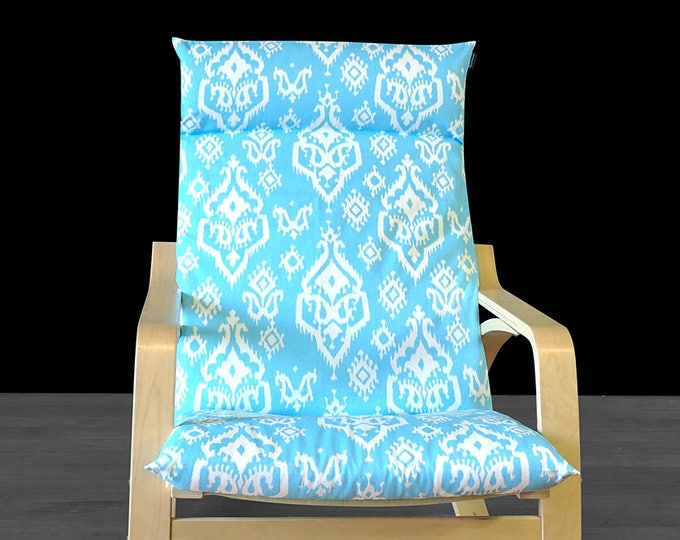 SALE Blue Indian Ikat Ikea Poang Chair Seat Cover