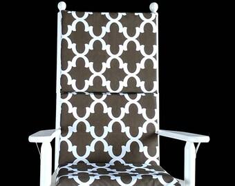 Brown Hidden Zipper Rocking Chair Cover