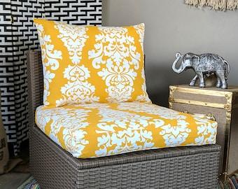 Yellow IKEA OUTDOOR Slip Cover, Ikea Hallo Cushion Covers, Custom Ikea Decor, Bespoke Arholma Covers, Damask Berlin