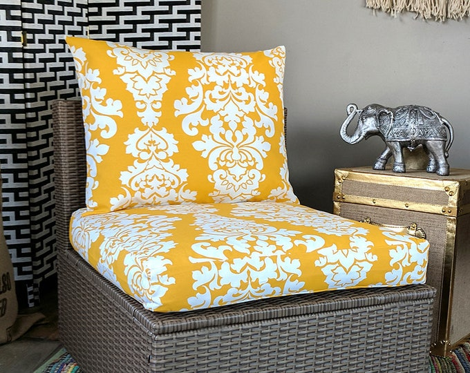 Yellow IKEA OUTDOOR Slip Cover, Ikea Hallo Cushion Covers, Custom Ikea Decor, Bespoke Arholma Covers, Damask Berlin