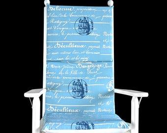 Blue Calligraphy, Writing Rocking Chair Cushion