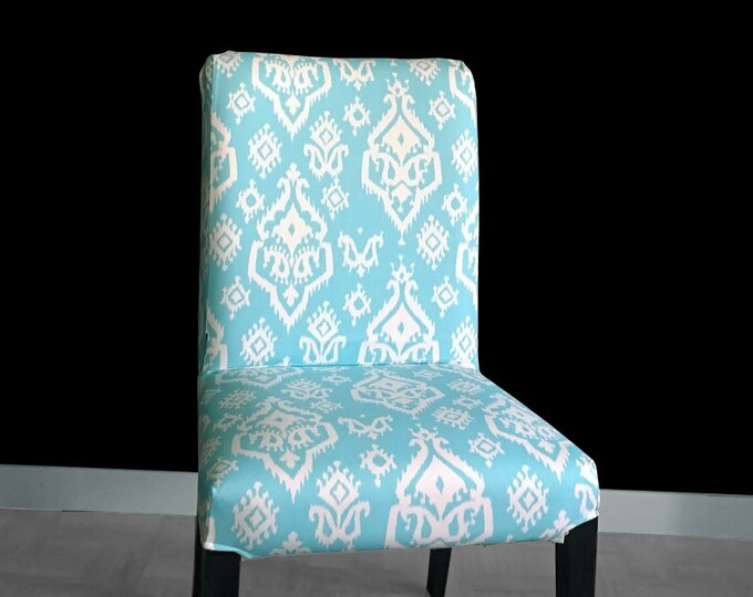 Turquoise Ikat HENRIKSDAL Dining Chair Cover