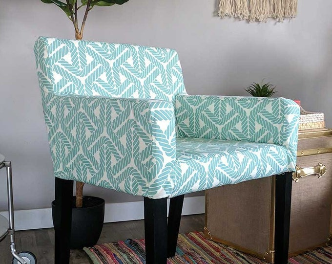 IKEA NILS Customized Chair Slip Cover - Topsail Aqua Nautical Rope, Outdoor