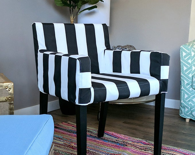 Outdoor IKEA NILS Customized Chair Slip Cover, Cabana Stripe Black White