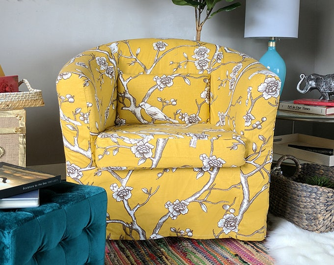 Vintage Style Flower Print Ikea Tullsta Chair Cover, Citrine Yellow