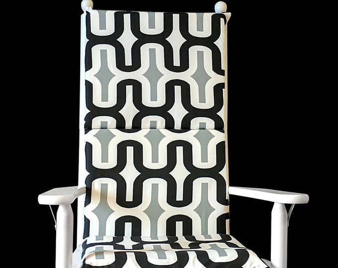 Patterned Monochrome Rocking Chair Cover
