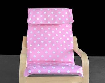 Light Pink Polka Dot IKEA KIDS POÄNG Cushion Slipcover, Girls Poang Chair Cover