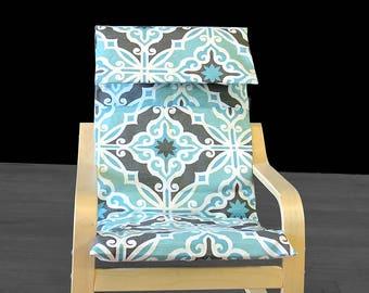 Light Blue Flower Print IKEA KIDS POÄNG Cushion Slip Cover