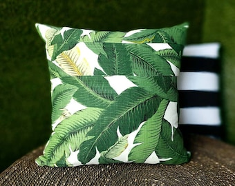 "Green Palms Pillow Cover, Patchwork Tropical Tommy Bahama 18"" x 18"""