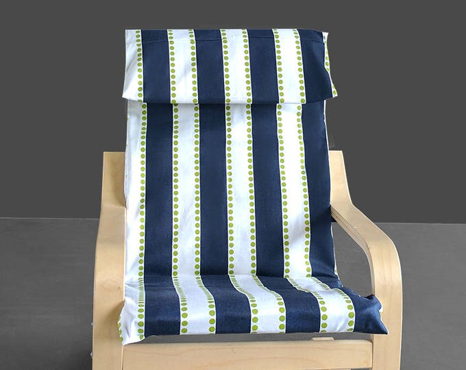 Navy Blue Stripe Ikea Kids Poang Chair Cover,  Ready to Ship