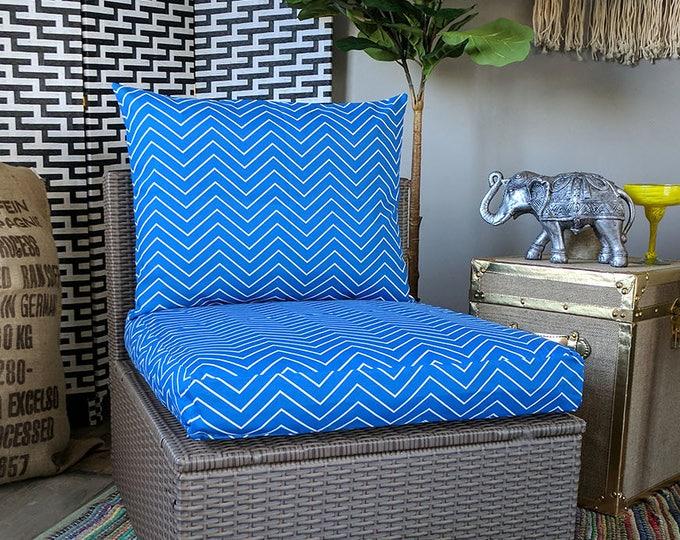 Blue Chevron IKEA Hallo OUTDOOR Slip Cover, Ikea Kungso Cushion Covers, Custom Ikea Decor, Bespoke Arholma Covers