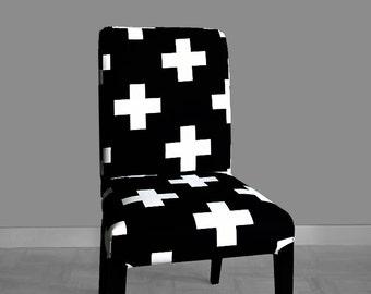Black White Swiss Cross HENRIKSDAL Dining Chair Cover
