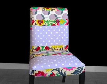 Polka Dot Flowers IKEA HENRIKSDAL Dining Chair Cover