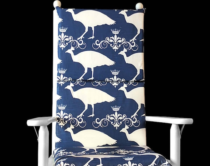 Navy Blue Peacock Rocking Chair Pads And Covers