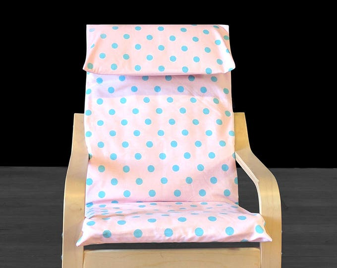 Baby Pink Blue Polka Dot IKEA KIDS POÄNG Cushion Slipcover