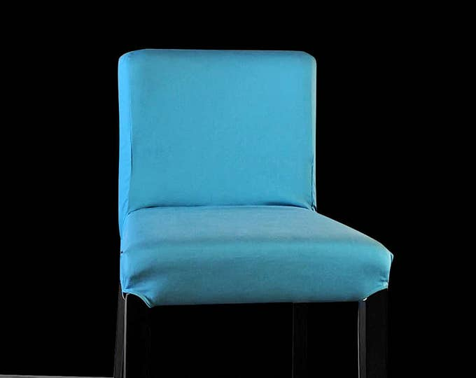 Suede Solid Peacock Teal Blue IKEA HENRIKSDAL Bar Stool Chair Cover