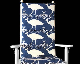 Navy Peacock Rocking Chair Slipcover