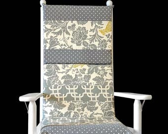 Cockatoo Floral Rocking Chair Cushion Cover