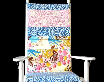 Flowers Ikat Rocking Chair Cushion Cover