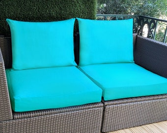 Sunbrella Aruba Turquoise Blue IKEA OUTDOOR Slip Cover, Plain Blue Ikea Cushion Covers, Custom Ikea Decor, Bespoke Arholma Covers, Aqua