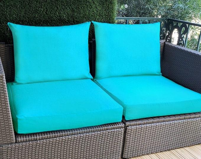 Sunbrella Aruba Turquoise Blue IKEA OUTDOOR Slip Cover, Plain Blue Ikea Cushion Covers, Custom Ikea Decor, Bespoke Arholma Covers, Aqua