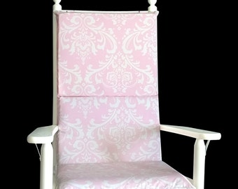 Pink Damask Rocking Chair Cushion Cover