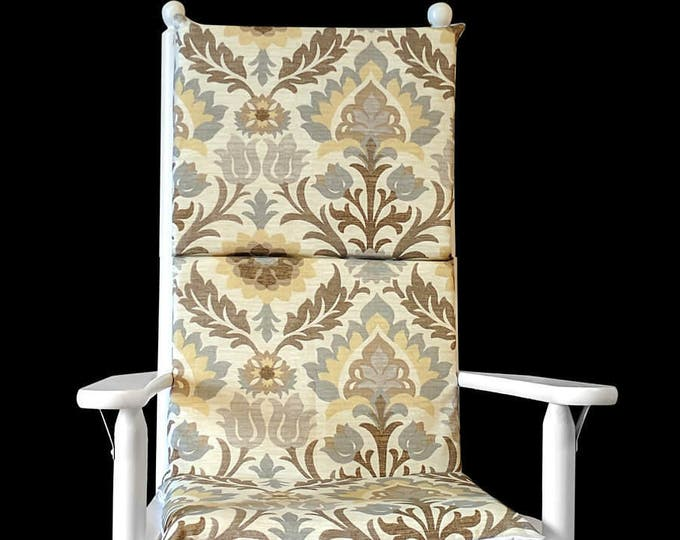 Beige Floral Rocking Chair Cover, Foam Inserts And Matching Pillow Cover