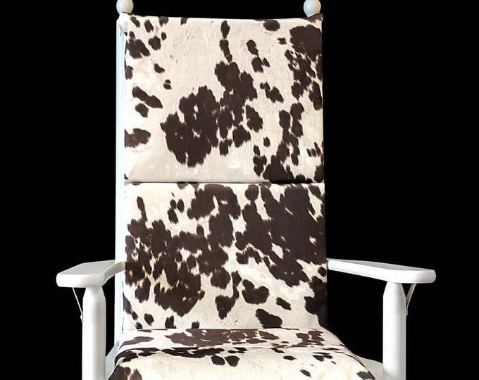 RESERVED LISTING Cow Print Rocking Chair Cushion, Cowhide Style Rocking Chair Cover - Udder Madness Cow Animal Print