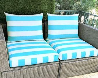 Turquoise Beige Cabana Stripe IKEA Kungso Hallo OUTDOOR Slip Cover, Ikea Cushion Covers, Custom Ikea Decor, Bespoke Arholma Covers