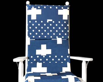 Navy Blue Swiss Cross Rocking Chair Cover, Cross Polka Dot Seat Covers