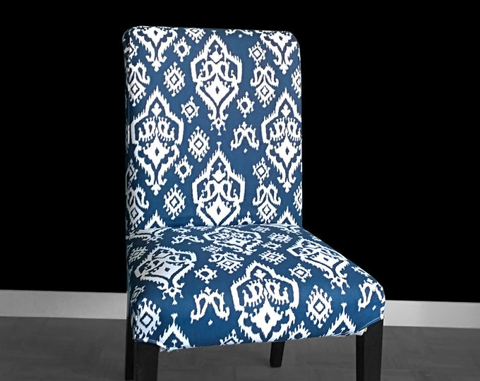 Navy Indian Print IKEA HENRIKSDAL Dining Chair Cover, Indian Style Henriksdal Slipcover