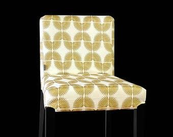Tribal Print HENRIKSDAL Bar Stool Chair Cover, White Metallic Gold