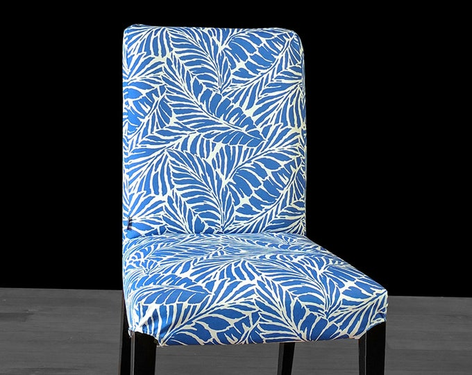Blue Palm Leaves IKEA HENRIKSDAL Custom Dining Chair Cover