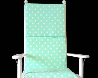 Mint Green Polka Dot Rocking Chair Cushion Cover