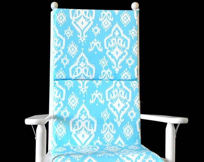 Turquoise Ikat Rocking Chair Cushion Cover, Ready To Ship