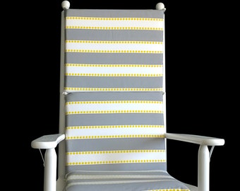 Gray Yellow Stripe Rocking Chair Cushion