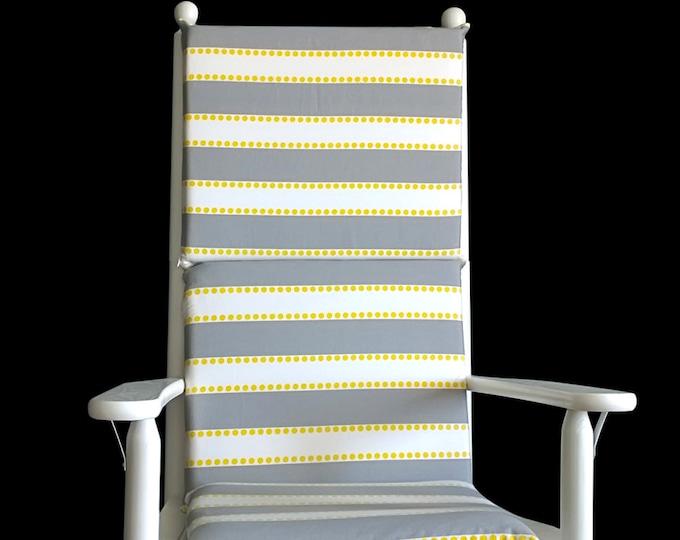 Gray Yellow Stripe Rocking Chair Cushion