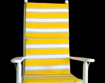 Yellow Stripes Rocking Chair Cushion, Summer Chair Slipcovers