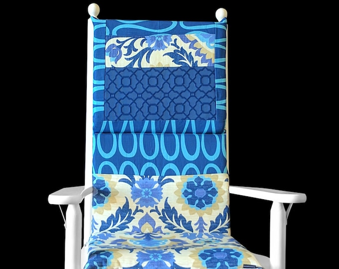 Blue Flowers Floral Adjustable Rocking Chair Cover