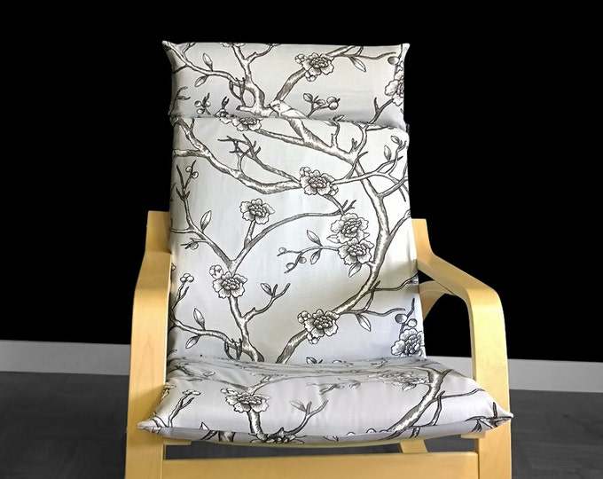 IKEA POÄNG Cushion Chair Cover - Dwell Studio Vintage Blossom Grey Dove