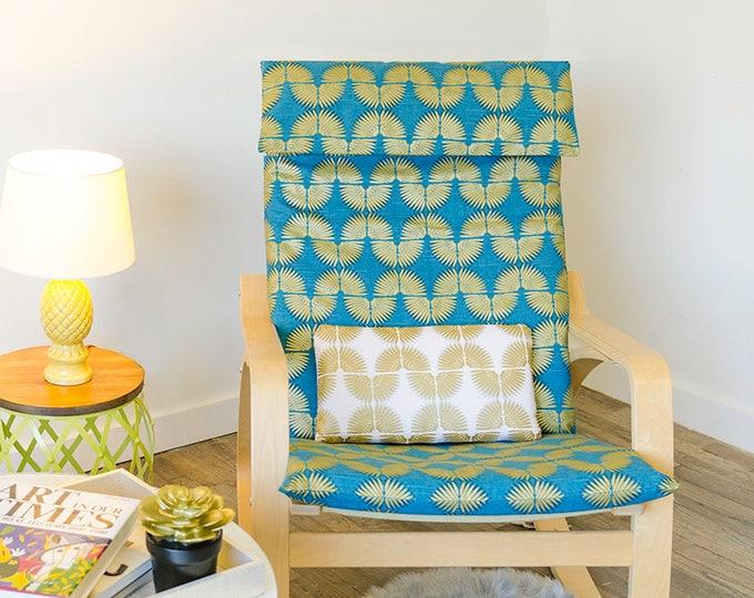 Peacock Blue, Metallic Gold IKEA POÄNG Chair Cover