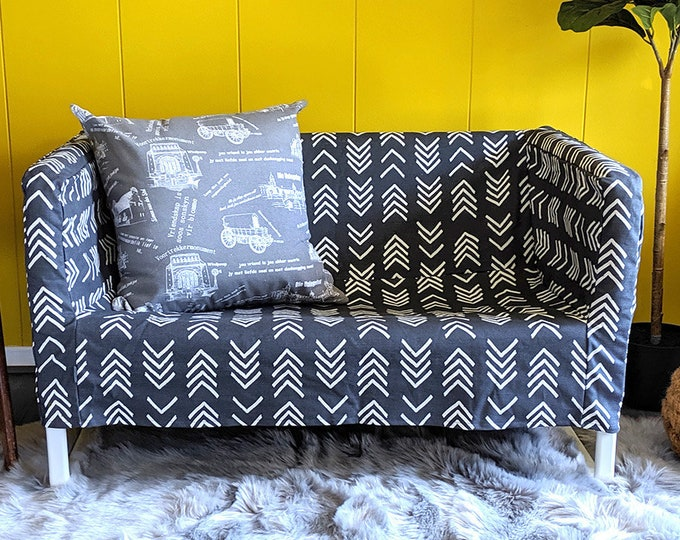 Featured listing image: IKEA Sofa Slip Cover for KNOPPARP, African Mud Cloth Print, Arrows, Dark Grey