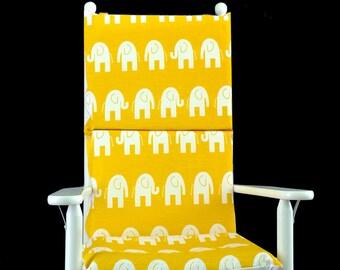 White Elephants Nursery Rocking Chair Cushion