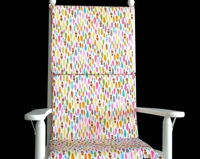 Kids Colorful Feathers Nursery Rocking Chair Pad