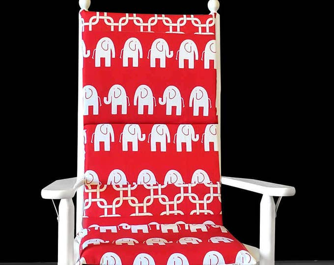 Red Elephants Nursery Rocking Chair Cushion