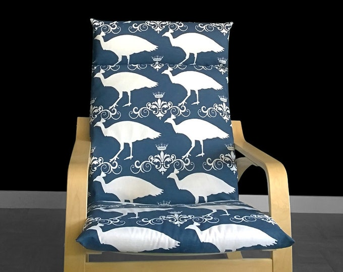 SALE Navy Peacocks Poang Chair Cover